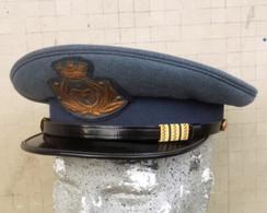 Berretto Visiera Grigioazzurro Vintage Maresciallo Maggiore A.M. Anni '60/70 Completo - Aviazione