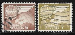 Canal Zone,  Scott #C22,C28 Used Globe, Wing,1951,1958 - Canal Zone