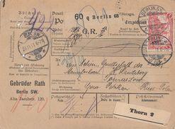 DR Paketkarte Mif Minr.90I, 94AI Berlin 28.11.11 Gel. Nach Tomaszow (Russ-Polen) - Briefe U. Dokumente