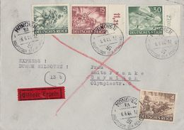 DR Brief Eilbote Mif Minr.832,833,837 OR, 840 OR München 6.6.44 - Briefe U. Dokumente