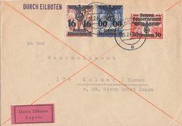 GG Brief Eilbote Mif Minr.25,30,34 Krakau 27.2.41 Gel. Nach Kolmar (Elsass) - Besetzungen 1938-45