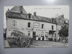 A450. CPA. 76. BOSC-LE-HARD. Route De Rouen. HOTEL PHILIPPE.  Beau Plan Animé. écrite - France