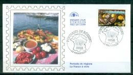 FDC ( Soie,silk,Seide  ) # 2005 -France  # Portraits De Régions - La France à Vivre #  La Bouillabaisse # Marseille - FDC