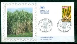 FDC ( Soie,silk,Seide  ) # 2005 -France # Portraits De Régions -La France à Vivre #  La Canne à Sucre # Les Trois Ilets - FDC