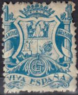 VIVA ESPAÑA GRANADA CARIDAD,SELLO VIÑETA 5 CÉNTIMOS VIVA ESPAÑA.-AZUL - Impuestos De Guerra