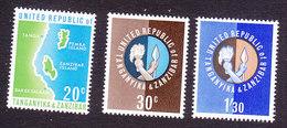 Tanzania, Scott #1-3, Mint Hinged, Map, Union Of Tanganyika And Zanzibar Emblem, Issued 1964 - Tanzania (1964-...)