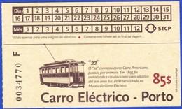Portugal, PASSE -  STCP Porto, Carro Eléctrino Nº 22 // 85$00 - Europe