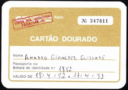 Portugal, PASSE 1992 - Portuguese Railwais/ Caminhos De Ferro Portugueses // Cartão Dourado - Terceira Idade - Europe