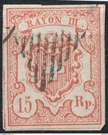 Stamp SWITZERLAND 1850 15r RAYON - 1843-1852 Timbres Cantonaux Et  Fédéraux