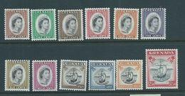 Grenada 1953 QEII Definitive Part Set Of 12 To $2.40 Ship  MNH - Grenada (...-1974)