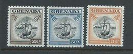 Grenada 1953 QEII Definitives 25c , 50c & $1.50 Boat Seal Of Colony Singles MNH - Grenada (...-1974)