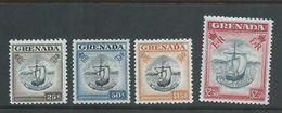 Grenada 1953 QEII Definitives 25c -> $2.50 Boat Seal Of Colony Singles (4) MNH - Grenada (...-1974)