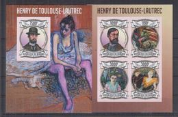 BURUNDI 2013 - Arts, Tableaux, Œuvres De Toulouse-Lautrec - Feuillet 4 Val + BF ND Neufs // Mnh Imp // CV 71.00 Euros - Burundi