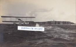 Foto Flugzeug Doppeldecker Schwimmflugzeug Wasserflugzeug Helgoland 1914 Flieger Pilot 1.Weltkrieg Deutsche Soldaten - War, Military