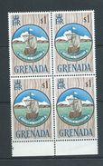 Grenada 1966 QEII Definitives $1 Boat Seal Of Colony Block Of 4 MNH - Grenada (...-1974)