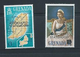 Grenada 1967 QEII Definitives Associated Statehood Overprint $3 Map & $5 Queen Singles MNH - Grenada (...-1974)