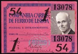 Portugal, PASSE 1954 - CARRIS, Companhia Carris De Ferro De Lisboa - Europe