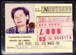 Portugal, PASSE 1993 - Transportes Colectivos Da Região De Lisboa // Reformada, Pensionista - Europe
