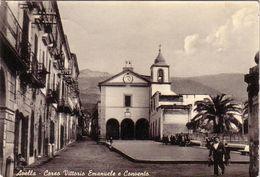 AVELLA-AVELLINO-CORSO VITT.EMANUELE E CONVENTO-CARTOLINA VERA FOTOGRAFIA-VIAGGIATA IL 15-9-1955 - Avellino