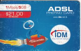 LEBANON - IDM Internet Prepaid Card $21(issued 2012), No Exp.date, Used - Libanon