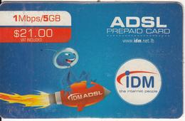 LEBANON - IDM Internet Prepaid Card $21(issued 2011), No Exp.date, Used - Lebanon
