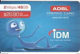LEBANON - IDM Internet Prepaid Card $20.90, Exp.date 31/12/18, Used - Libanon