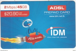 LEBANON - IDM Internet Prepaid Card $20.90, Exp.date 31/12/15, Used - Libanon