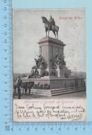 """Saluti Da Roma - Monumento A Garibaldi Sul Gianicolo, Cover Roma 1906 And A Flag With A """"V"""" & """"E"""" In It - Souvenir De..."""