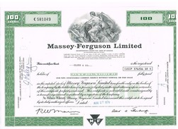 - Certificat De Valeurs Américaines - Massey-Ferguson Ltd. - Titre De 1976 - Industry