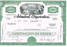 - Certificat De Valeurs Américaines - Admiral Corporation. - Titre De 1972 - Industry