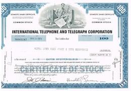 """Certificat De Valeurs Américaines - International Telephone And Telegraph Co """"ITT"""" Titre De 1973 - Industry"""