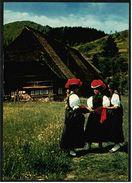 Schwarzwald-Haus Mit Schwarzwald-Tracht Frauen  -  Ansichtskarte Ca.1975    (7963) - Costumi