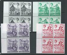 Grenada 1970 Pirate Set Of 4 MNH Marginal Blocks Of 4 - Grenada (...-1974)