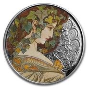 USA Silver Rounds 1 Oz Silver Colored Round Coin From The Collection Of The Artist Mucha - Etats-Unis