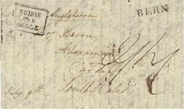 1828- Lettre De BERN  Pour Cardiff ( South Wales) Transit Par La France SUISSE /PAR/DELLE Noir - Schweiz