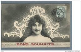 BONS  SOUHAITS  1906  .... Bonheur - Paix - Travail - Prosperite - Nouvel An