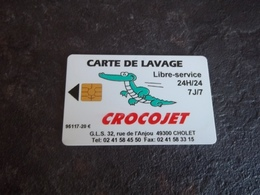 ANCIENNE CARTE A PUCE LAVAGE CROCOJET CHOLET (49) 20 EUROS B.E !!! - Frankrijk