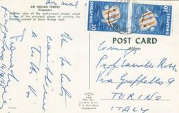 11270-CARTOLINA ILLUSTRATA SINGAPORE AFFRANCATA 20C + 20C SPEDITA A TORINO - Singapore (1959-...)