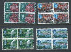 Grenada 1967 Associated Statehood Overprint In Silver Set 4 MNH Blocks Of 4 - Grenada (...-1974)