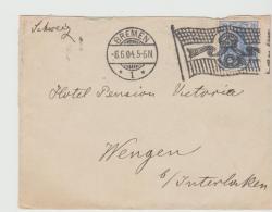 Ger455 / Bremen, Flaggenstempel  Auf Der Seltenen Mi.Nr, 72b Auf Brief 1904 Nach Wegen, Schweiz - Allemagne
