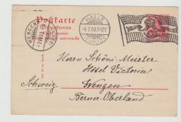 Ger456/ HALLE, Flaggenstempel 1903 Nach Wegen, Schweiz - Allemagne