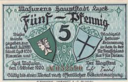 Notgeld Stadt LYCK : 5 Pfennig - [ 3] 1918-1933 : République De Weimar