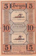 Notgeld Stadt HOYM : 10 Pfennig - Billet Séparable - [ 3] 1918-1933 : Weimar Republic