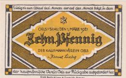 Notgeld Stadt OELS : 10 Pfennig - [ 3] 1918-1933 : République De Weimar