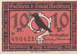 Notgeld Stadt MERSEBURG : 10 Pfennig - [ 3] 1918-1933 : Weimar Republic