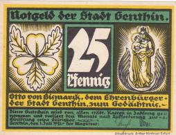 Notgeld  : 25 Pfennig - Stadt GENTHIN - [ 3] 1918-1933 : Weimar Republic