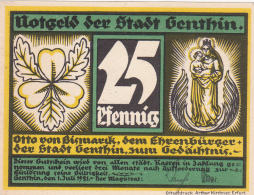 Notgeld  : 25 Pfennig - Stadt GENTHIN - [ 3] 1918-1933 : République De Weimar