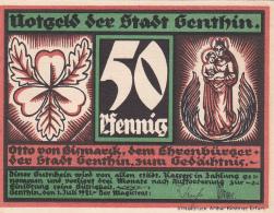 Notgeld  : 50 Pfennig  - Stadt GENTHIN - [ 3] 1918-1933 : République De Weimar