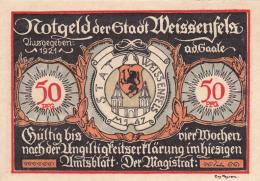 Notgeld  : 50 Pfennig  - Stadt WEISSENFELS - [ 3] 1918-1933 : République De Weimar