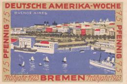 Notgeld  : 75 Pfennig  - Stadt BREMEN - Deutsche Amerika-Woche - [ 3] 1918-1933 : Weimar Republic